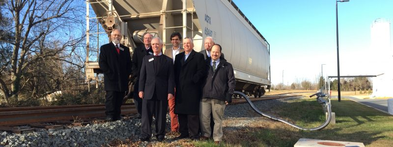 Left to Right: Eddie Boswell, Chairman, Alamance County Board of Commissioners; Scott Saylor, NCRR President; Argyle Campbell, Cambro Manufacturing President; Arthur Samet, President, Samet Corporation; Mac Stephenson, President, Alamance Chamber; Glendel Stephenson, Mayor of Mebane; Paul Worley, Director, NCDOT Rail Division